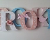 Wooden letters for nursery in pink, and blue
