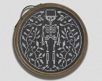 PDF Mr. Bones in the Garden Halloween cross stitch pattern by Dark Crosses at thecottageneedle.com cemetery skeleton embroidery