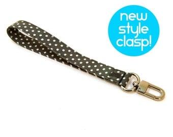 Wrist Strap - Keychain Wristlet Strap - Gray Key Chain with Clasp - Grey Wallet Strap - Fabric Lanyard - Unisex Wrist Strap - Ready to Ship