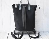 Messenger Backpack, Zipper canvas rucksack tote bag, Unisex Leather tote bag, Convertible messenger cross body, husband laptop carrier