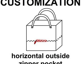 Outside zipper pocket, unique customization your tote bag, choose outside pockets