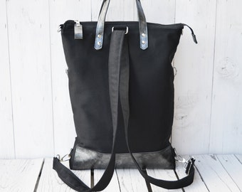 Zipper canvas backpack tote bag, Leather tote bag, Convertible messenger cross body, unisex casual overnight bag, husband laptop carrier