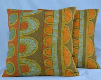 "Midcentury Linen Pillow Cover Cushion Cover Vintage Pillow Retro Pillow Geometric Pillow - 16"" Pillow Cover"