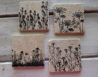 Natural stone coaster. Wild Flower Coasters.  Set of Four Coasters. Gift. Flowers.