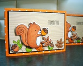 Squirrel Thank You Card, Autumn Thank You Note, Fall Thank You Card