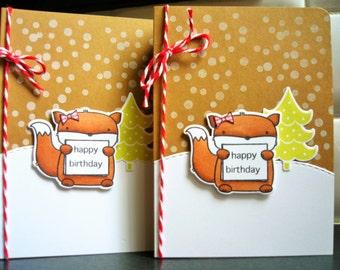 Fox Birthday Card, Winter Birthday Card, Woodland Friends Card