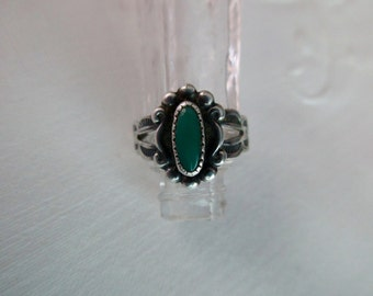 vintage sterling silver ring - green turquoise, size 3.5