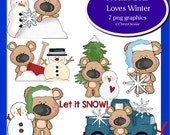 Freckle Bear Loves Winter 7 PNG Graphics