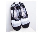 Stripes and Hearts Slippers/ Espadrilles - Crochet Pattern - Instant Download Pdf