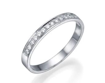 950 Platinum Ring , White Diamond Ring , Size 7 Semi-Eternit Wedding Band Valentines Day Gift