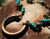 WAVERING SHADOWS, turquoise necklace, vintage brass, hand wrapped, exotic tribal, tibetan beads, rustic statement jewelry, handmade
