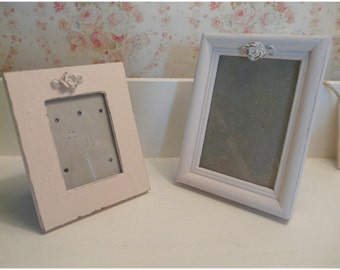 Set of 2 Shabby Adorable Pink Picture Frames