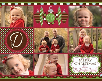 Photo Christmas Card - Multiple Designs - Digital File - You Print - Customizable - 6 photos
