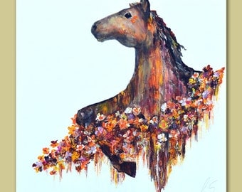 Horse and Flowers Original Painting