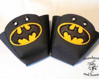 Black Leather Roller Derby Skate Toe Guards with Batman and Pow