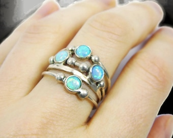 Silver opal ring. spheres sterling silver ring, Sterling silver ring. Opal ring. Opal silver ring. Wide opal ring. Wide ring.(sr10019-1570)
