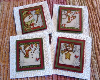 Snowman Mini Cards Red and Green  Set of 4