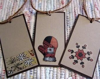 Rustic Christmas Tags  Set of 6