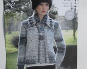 4288 King Cole Super Chunky Ladies Long Sleeve Jacket and  Crossed collar  Jumper Easy Knit