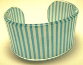 Blue & White Striped Fabric Encased Lucite Bracelet Cuff Blank - Pre-Made or Use To Embellish