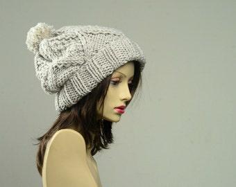 Knit Hat - Pom Pom Beanie - Slouchy Beanie - Womens Hat - Pom Pom Hat - Chunky Knit Hat - Winter Beanie Hat