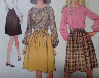 WRAP SKIRT Pattern • McCall's 9133 • Junior 11 • Blouse & Skirt • Front Wrap Tie Skirt • Peasant Blouse • Vintage Patterns • WhiletheCatNaps