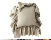 Large ruffle linen pillow Custom color cushion from Vintage collection