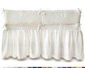 Gathered linen crib skirt Custom color or white dust ruffle Soft linen crib bedding