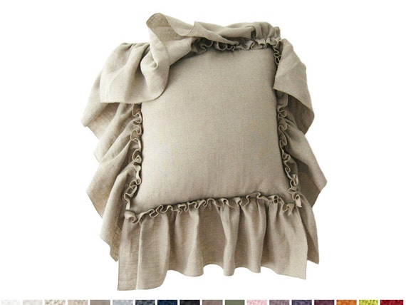 Large ruffle linen pillow Custom color cushion covers Vintage collection