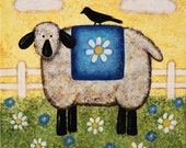 Spring Folk Art Easter Primitive Painting on Wood Block-READY TO SHIP- Lamb, Sheep,  Daisies, Crow, Desktop Art, Mini Art, Spring Decor
