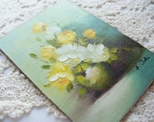 SALE Small Painting of Blooming Yellow and White Roses