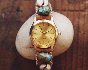 STGW-01, handmade eco-friendly cowrie shell and turquoise leather gold watch