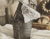 Vintage Two Small Galvanized Buckets Pails