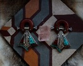 16mm Bloodwood ear weights with turquoise coral inlay and silver medallions Nepal plugs