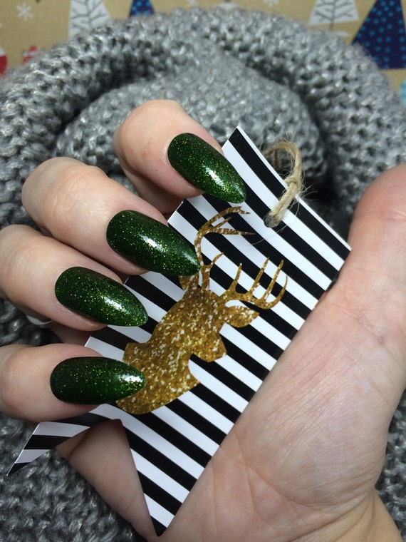 Holiday Polish Yours and Pine by Comet Vomit green and gold sparkle forest inspired