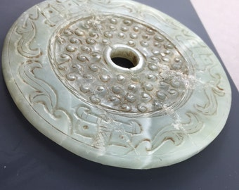 Antique Chinese Jade Bi . Stone disc . China artifact No.002047 cs