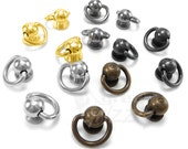 Ball post with D ring dee ring leather different colors screw back, AF8