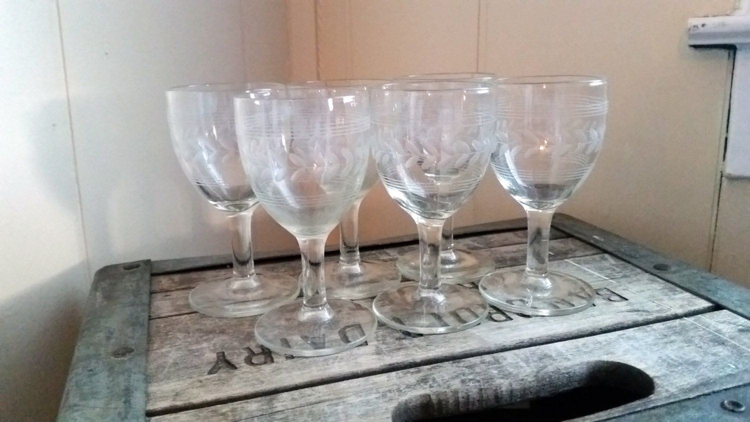 Vintage Etched Flower Small Crystal Wine Glasses By