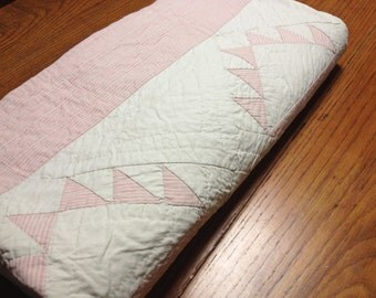 Beautiful Pale Pink And White Hand Sewn Vintage Quilt