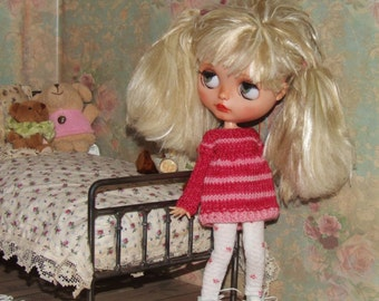 Ooak Custom Blythe Doll Long Sweater Dress Hand Dyed Superwash Soft Wool Cherry Pink Stripes Cotton Star Print White Leggings