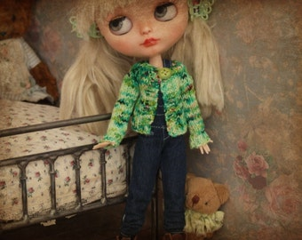 Ooak Blythe Doll Hand Dyed Grass Forest Green  Confetti Variegated Superwash Wool Yarn Hand Knit Sweater Button