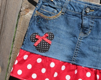 Minnie Mouse skirt -girls 12 only -  upcycled  -refab - Disney Vacation- Ready to Ship