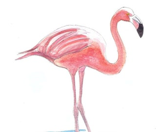 """Limited Edition Print of Pink Flamingo watercolor 5"""" x 7"""" . water birds, tropical birds, wading birds."""