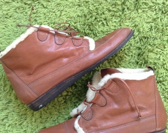 Vintage leather and shearling boots womens 9
