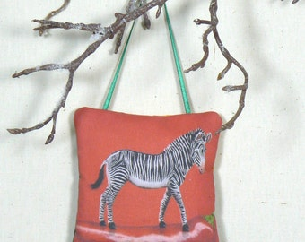 Zebra Ornament, Hanging Sachet, Scented Ornament, Door Knob Pillow, Nursery Decor, Balsam Sachet, Animal Ornament, Tree Decoration
