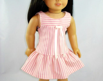 American Girl Doll Clothes -Summer Dress, Pionk and White Striped, 18inch doll clothes, american girl doll clothes,