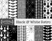 50% OFF SALE Black and White Retro Digital Paper, 50's Patterns, Digital Scrapbook Paper, Backgrounds, Instant Download, Commercial Use