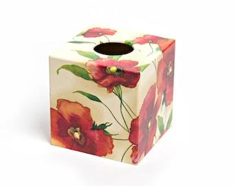 Red Poppy Design Wooden Tissue Box handmade