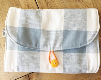 Travel Changing Pad - Diapering on the Go - Blue Squares with baby Birds