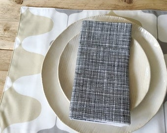 Fabric Placemats - Grey and Tan Ivan Design - Set of 4